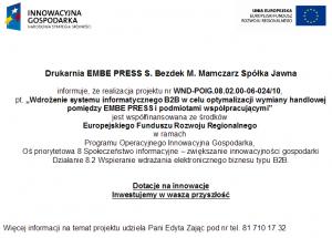 Wdrożenie systemu informatycznego B2B w celu optymalizacji wymiany handlowej pomiędzy EMBE PRESS i podmiotami współpracującymi