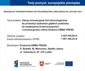 Zakup innowacyjnej linii technologicznej po produkcji opakowań giętkich podstawą do zwiększenia konkurencyjności i innowacyjności oferty Drukarni EMBE PRESS